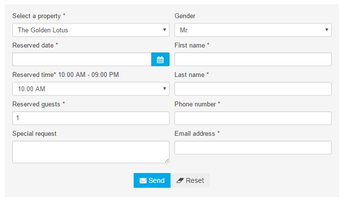 Restaurant Website Lease Online Table Booking Management