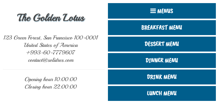 Restaurant Website Lease Digital Restaurant Menu